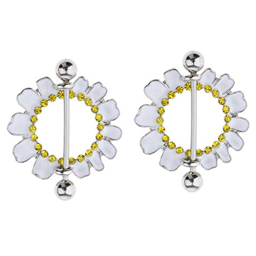 (1 Pair Stainless Steel Barbell Crystal Flower Nipple Shield Bar Ring Piercing (Pattern Gauge - Daisy Flower White 16g))