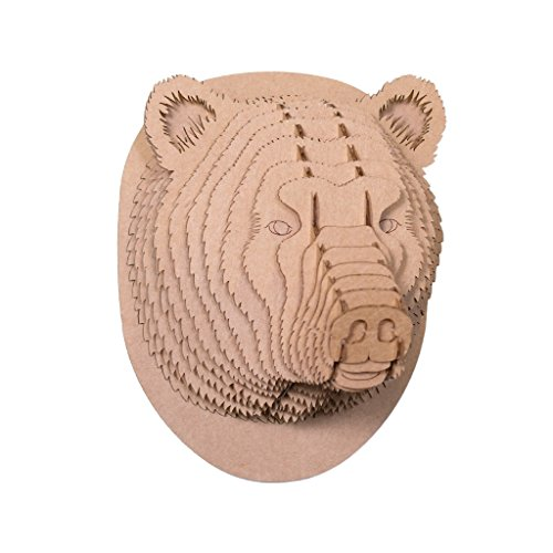 Bears Bear Head - Cardboard Safari Recycled Cardboard Animal Taxidermy Bear Trophy Head, Stewart Brown Medium