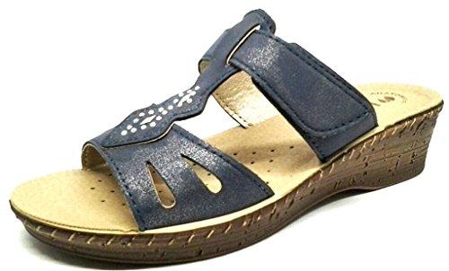 INBLU - Zapatillas de estar por casa de piel sintética para mujer azul turquesa 38