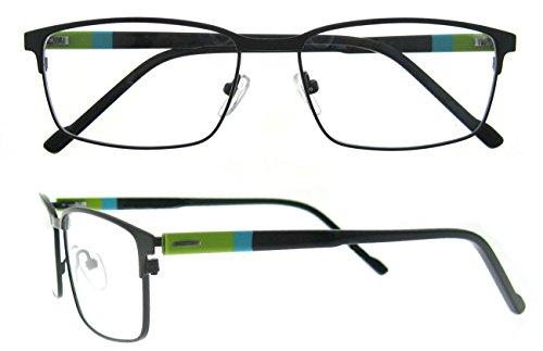 OCCI CHIARI Rectangle Full-Rim Metal Optical Glasses Acetate Arm For Bussiness Men(Green, - Full Rims