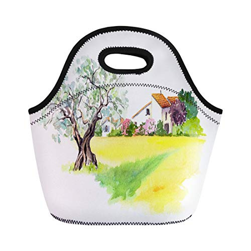 Semtomn Neoprene Lunch Tote Bag Rural Provencal Farm House Olive Tree and Yellow Field Reusable Cooler Bags Insulated Thermal Picnic Handbag for Travel,School,Outdoors,Work