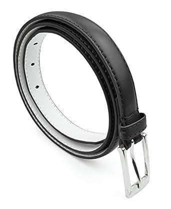 Belle Donne - Women's Leather Skinny Hip or Waist Dress Belt -Black-S