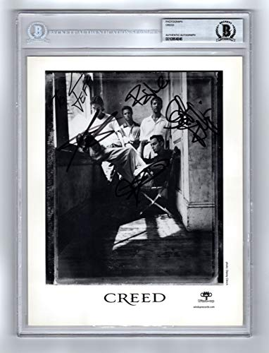8x10 Band Photo Autographed - Creed Band Signed Autographed 8x10 Photo Ecapsulated Beckett BAS Certified Authentic COA by Scott Stapp, Mark Tremonti, Brett Hestla, Scott Phillips