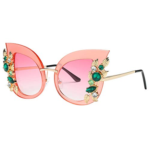 LODDD Womens New Fashion Sunglasses Artificial Diamond Cat Ear Metal Frame Brand Classic Sunglasses