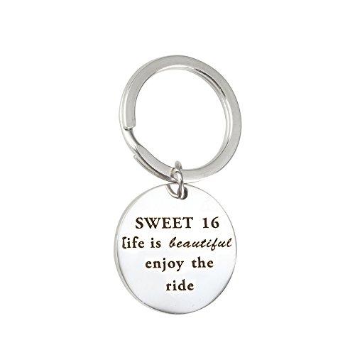 Meiligo Sweet 16 Gift Life Is Beautiful Enjoy The Ride Jesus Keychains Baptism keychains 16th Birthday Gifts (Sweet 16 Key Chain)