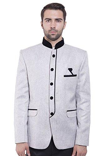 Colori Nehru Argento Uomo Blazer Rayon Festive Grigiastro Venti Bandhgala Wintage Cotton Mandarino XAdOxXwq
