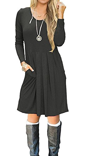 I2crazy Women's Casual Pleated Loose Swing T-Shirt Dress With Pockets Knee Length(09-Long Sleeve-Darkgray,M)