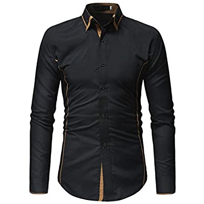 WUAI Men's Formal Cotton Slim Fit Lapel Solid Color Casual Long Sleeve Shirts