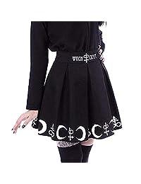 Funic Falda gótica Punk de Moda para Mujer con símbolo de hechizos mágicos de Bruja, Luna, Plisada, Mini Falda