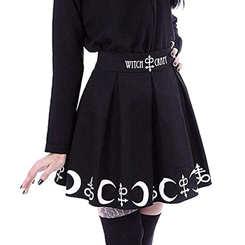 Henwerd Women's Fashion Casual Print Gothic Punk Witchcraft Moon Short Skirt Magic Spell Symbols Pleated Mini Skirt (Black, L) ()