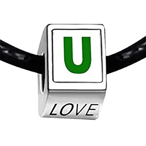 Chicforest Silver Plated Green Letter U Photo LOVE Charm Beads Fits Pandora Charm