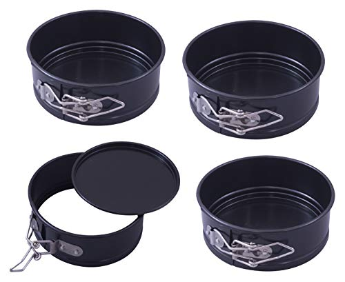 Paderno World Cuisine A4775412 Mini Springform, Non-Stick, Set of 4, one size, Black
