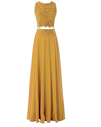 Gold Bridesmaid Lace Two BOwith Piece s Prom Dress Women Long Dress avxqRxw8I