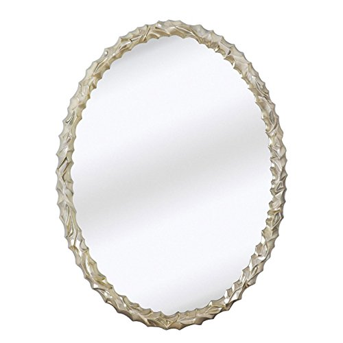 Majestic Mirror Contemporary Oval Shaped Silver Framed Glass Wall Mirror 27 x - Shaped Glasses Mirror