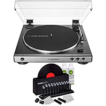 Audio-Technica AT-LP60X Fully Automatic Belt-Drive Stereo Turntable (Gunmetal) with Knox Gear Vinyl Record Cleaner Kit