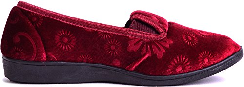 Velour Floral Slippers Shoes Burgundy Style Smooth Woments Design with Ladies AwFHqEZxq