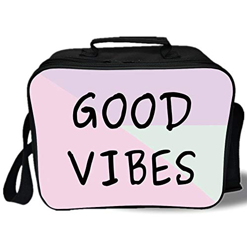 Good Vibes 3D Print Insulated Lunch Bag,Motivational Positive Phrase on Geometrical Pastel Colored Background Hipster Decorative,for Work/School/Picnic,Multicolor