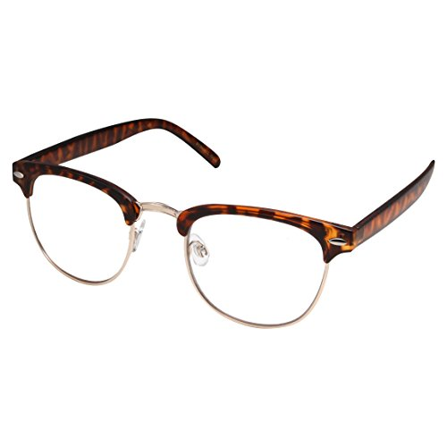 grinderPUNCH - Mens Non Prescription Clear Lens Glasses Tortoise