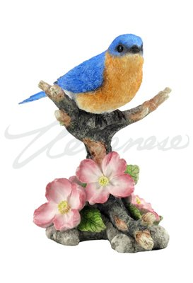 4.88 Inch Bluebird on Branch with Flowers Decorative Figurine, Blue