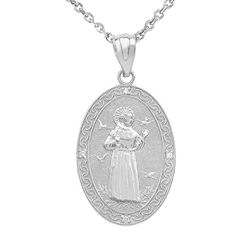 Sterling Silver Saint Francis of Assisi CZ Oval Medal Charm Necklace (Medium), 20