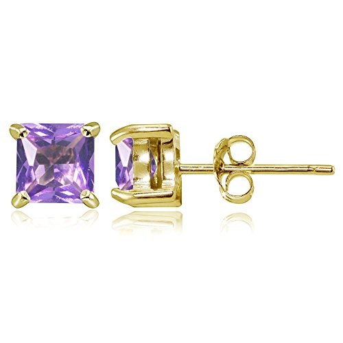 (Yellow Gold Flashed Sterling Silver Simulated Amethyst 5mm Princess-cut Stud Earrings)