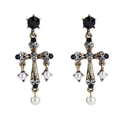 WYWT Vintage Baroque Style Cross Earrings with Pearl Drop and Crystal Acrylic Bohemian Fashion for Women