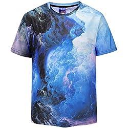 Azuki Men Western Vivid Psychedelic Dark Clouds Graphic Round Neck Short Sleeve Top T-Shirts M