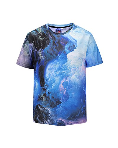 Azuki Men Western Vivid Psychedelic Dark Clouds Graphic Round Neck Short Sleeve Top T-Shirts M by Azuki