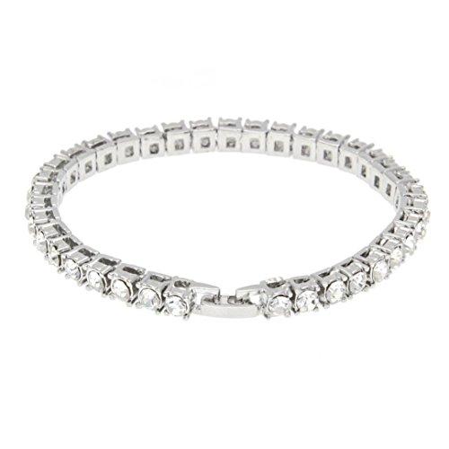 Hemlock Hip Hop Bracelet, Women Men Rhinestone Bracelet Chain Bling Crystal Bracelet (Silver)