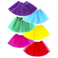 Tutus for Girls Dance Skirt Dress Up (Red, Blue, Green, Pink, Purple, Yellow ...