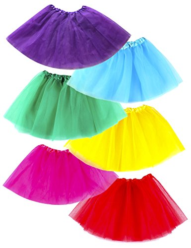 [Tutus for Girls Dance Skirt Dress Up (Red, Blue, Green, Pink, Purple, Yellow Set)] (Tiana Costume For Infant)