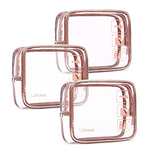 NiceEbag TSA Approved Toiletry Bag 3pcs Clear Travel Makeup Bag Set Transparent PVC Cosmetic Pouch Carry On Airport Airline Compliant Bag for Women Men Girls Boys, Quart Sized with Zipper, Rose Gold (Quart Size Plastic Bag For Carry On)