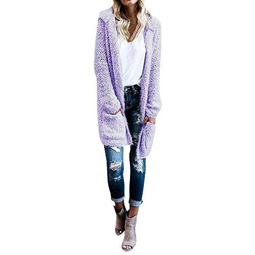 Hot Sale!, KIKOY Women Lambswool Hoodie Knit Long Sleeve Cardigan Sweaters Outerwear With Pocket