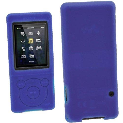 iGadgitz Blue Silicone Skin Case Cover for Sony Walkman NWZ-E473 NWZ-E474 NWZ-E574 NWZ-E575 E Series Video MP3 Player 4gb 8gb 16gb + Screen Protector (NWZ-E474B, NWZ-E574B, NWZ-E575B, NWZ-E473K)