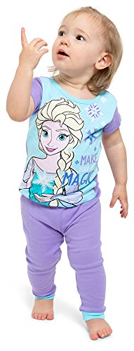 Disney 2 Piece Pajama Bottoms - Disney Girls' Little Frozen Elsa 4-Piece Cotton Pajama Set, Wintery Hues, 4
