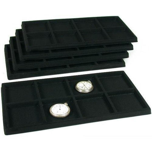 FindingKing 5 Black 8 Slot Pocket Watch Jewelry Display Case Tray Inserts