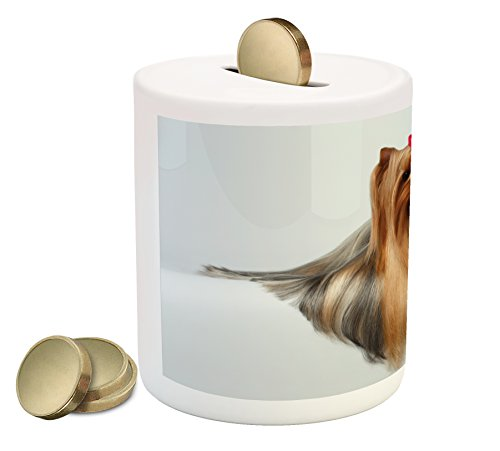 Adorable Yorkie - Ambesonne Yorkie Piggy Bank, Cute Photo of Yorkshire Terrier with Groomed Hair Lying Beside It Adorable Yorkie, Printed Ceramic Coin Bank Money Box for Cash Saving, Brown White