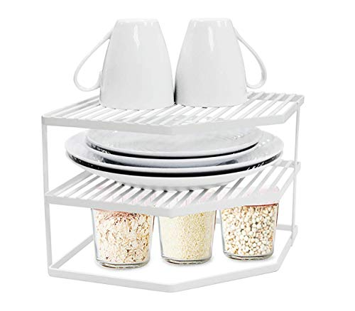TIDY WISE SIMPLE ORGANIZING SOLUTIONS 3-Tier Corner Shelf Counter and Cabinet Organizer, White (Organizer Plate Cabinet)
