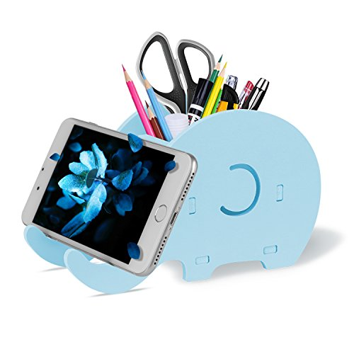COOLOO Pencil Holder Cell Phone Stand, Cute Elephant Office Accessories Tablet Desk Bracket Compatible with iPhone iPad Smartphone, Desk Decoration Multifunctional Stationery Box -