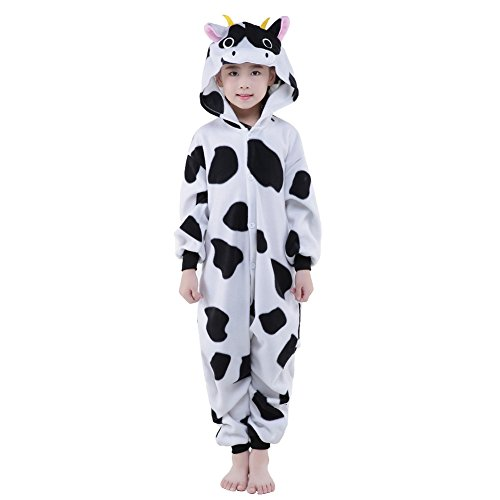 [Newcosplay Unisex Children Cow Pyjamas Halloween Costume (10-height 56-59