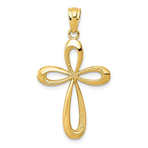 14k Yellow Gold Ribbon Cross Religious Pendant Charm Necklace Fine Jewelry Gifts For Women For Her