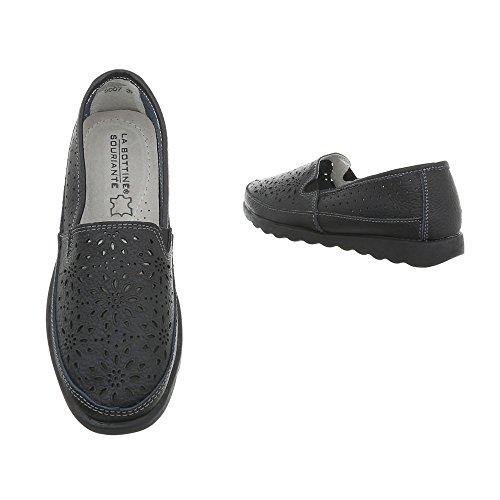 Damen Schuhe Mokassins Leder Modell Nr.2Schwarz
