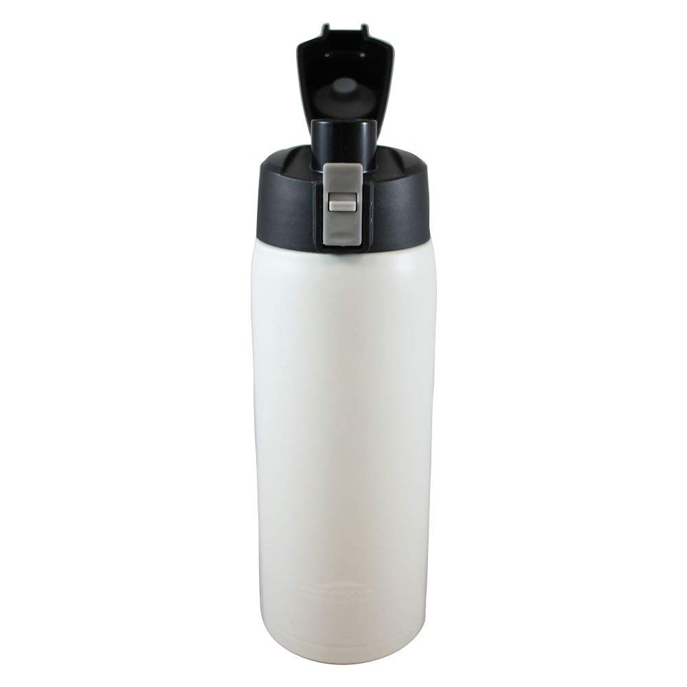 Aquatix (Artic White, 21 Ounce) Pure Stainless Steel Double Wall Vacuum Insulated Sports Water Bottle with Convenient Flip Top  Keeps Drinks Cold for 24 Hours, Hot for 6 Hours