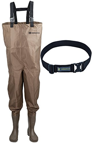 Hodgman Mackenzie Nylon and PVC Cleated Bootfoot Chest Fishing Waders with FlexFit Nylon Wading Belt, Brown Size 10