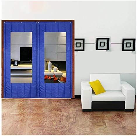 SHIJINHAO ドアカーテンオックスフォードは、ノイズ防風カーテンヘビーデューティ冬の熱保護世帯のドアパネル防水防音戸口のスクリーンドアを温めます (Color : Blue, Size : 1.5x2.2m)