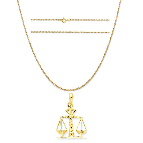 14k Yellow Gold Scales Of Justice Pendant on a 14K Yellow Gold Carded Rope Chain Necklace, 20