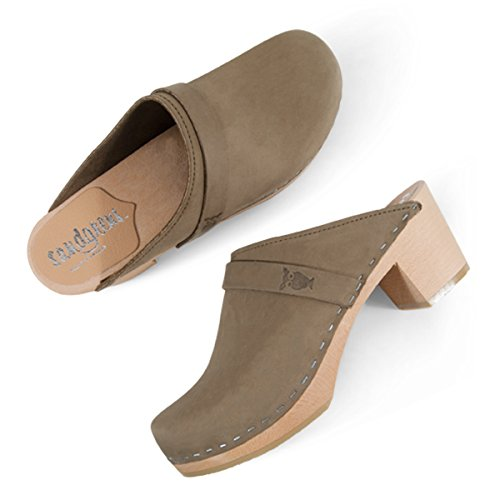 Sandgrens Swedish High Heel Wooden Clog Mules For Women | Sandgrens Svenske Højhælede Træsko Muldyr For Kvinder | Dublin Celery Dublin Selleri uV6Hp