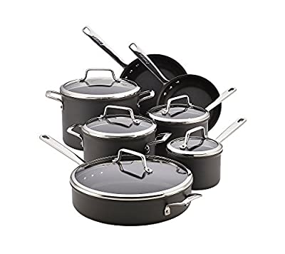 Anolon 10 Piece Authority Hard-Anodized Nonstick Cookware Set, Gray