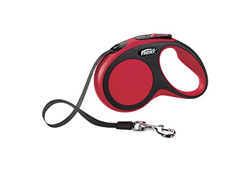 Flexi New Comfort Retractable Dog Leash (Tape), 16ft, Small, Red