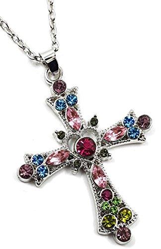 - Pretty Pink, Purple, Aqua Blue, Green Multicolor Crystal 1-1/2